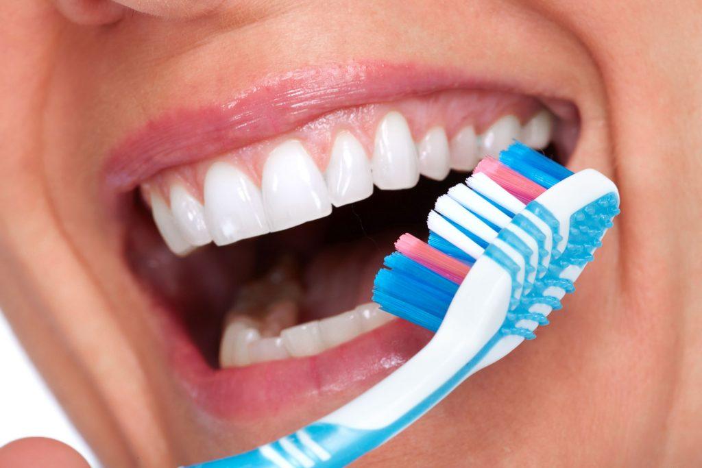 Beautiful woman white teeth. Dental health care.